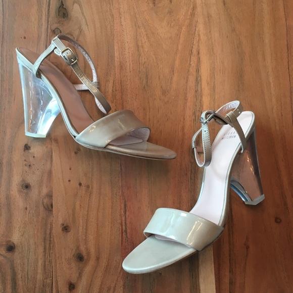 Stuart Weitzman Theone taupe patent lucite heels